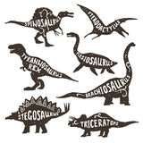 Dinosaurs Silhouettes With Lettering Royalty Free Stock Photography