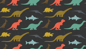 Dinosaurs silhouettes on white background. Seamless pattern Stock Photo