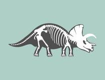 Dinosaurs skeleton silhouette bone tyrannosaurus prehistoric animal dino bone vector flat illustration. Stock Images