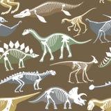 Dinosaurs skeletons silhouettes bone tyrannosaurus prehistoric animal dino bone vector flat illustration seamless Royalty Free Stock Photos