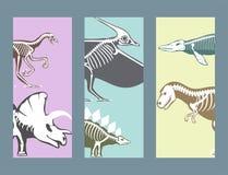 Dinosaurs skeletons silhouettes cards set fossil bone tyrannosaurus prehistoric animal dino bone vector layout print Stock Photo