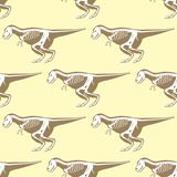 Dinosaurs skeletons silhouettes seamless pattern fossil   Royalty Free Stock Images