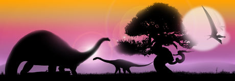 Dinosaurs soft landscape. Pastel landscape at sunrise with tree silhouette and dinosaurs Stock Photography