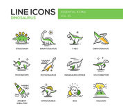 Dinosaurs species- line design icons set Royalty Free Stock Photos