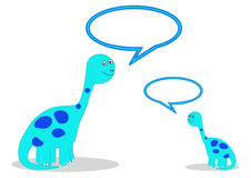 Dinosaurs with speech bubbles Stock Images