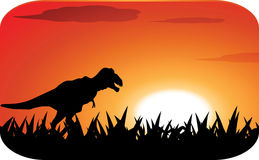 Dinosaurs with sunset. Dinosaurs silhouette with sunset background Royalty Free Stock Photo