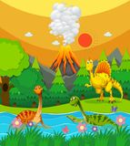 Dinosaurs swimming in the river. Illustration Stock Images