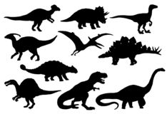 Dinosaurs and T-rex monster reptiles, vector. Dinosaurs and Jurassic dino monsters icons. Vector silhouette of triceratops or T-rex, brontosaurus or pterodactyl vector illustration