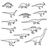 Dinosaurs thin line icon set. Vector outline icons set. Eps10 Royalty Free Stock Photography