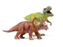 Dinosaurs toys. On white background stock images