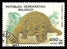 Dinosaurs, Triceratops. Malagasy Republic - stamp 1988, Edition Prehistoric animals, Series Dinosaurs, Triceratops Royalty Free Stock Images