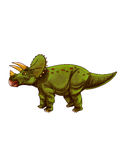 Dinosaurs:triceratops. Triceratopswas a medium-sized four-legged dinosaurs,  a very big head shield, and  three angles Royalty Free Stock Image