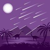 Dinosaurs Under Meteorite Sky at Night Flat Jurassic Landscape. Dinosaur under night sky flat design Stock Photos