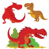 Dinosaurs vector dino animal tyrannosaurus t-rex danger creature force wild jurassic predator prehistoric extinct. Illustration. Angry powerful large dinosaurs Stock Image