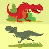 Dinosaurs vector dino animal tyrannosaurus t-rex danger creature force wild jurassic predator prehistoric extinct. Illustration. Angry powerful large dinosaurs Royalty Free Stock Photos
