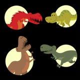 Dinosaurs vector dino animal tyrannosaurus t-rex danger creature force wild jurassic predator prehistoric extinct. Illustration. Angry powerful large dinosaurs Royalty Free Stock Photography
