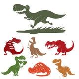 Dinosaurs vector dino animal tyrannosaurus t-rex danger creature force wild jurassic predator prehistoric extinct. Illustration. Angry powerful large dinosaurs Stock Photo