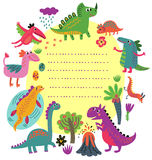 Cartoon dinosaur invitation Royalty Free Stock Images