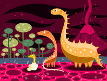 Dinosaurs and volcano. Illustration of dinosaurs family on a volcano background Royalty Free Stock Images