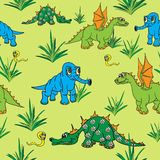 Dinosaurs walking in nature. Seamless. Royalty Free Stock Images