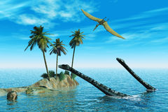 Dinosaurs in water. Scene sea dinosaur, executed in 3 D Royalty Free Stock Photo