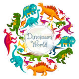 Dinosaurs world vector cartoon poster Royalty Free Stock Images