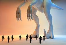 Dinosaurus и малые люди Стоковая Фотография RF