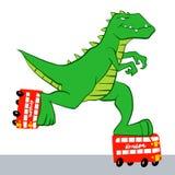 Dinosaurus berijdende rolschaatsen royalty-vrije illustratie