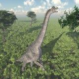 Dinosaurus Brachiosaurus die zich rechtop bevinden stock foto