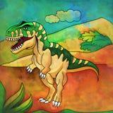 Dinosaurus in de habitat Illustratie van Tyrannosaur Stock Afbeeldingen