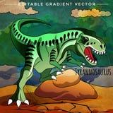 Dinosaurus in de habitat Vectorillustratie van Tyrannosaur Stock Afbeelding
