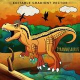 Dinosaurus in de habitat Vectorillustratie van Tyrannosaur Stock Afbeeldingen