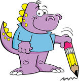 Dinosaurus die een potlood houdt Stock Afbeeldingen