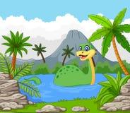 Dinosaurus die pret in het meer hebben stock illustratie