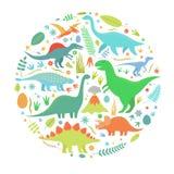 Dinosaurus en cercle Photos stock