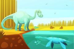 Dinosaurus et illustration de bande dessinée de vintage de tortue Images stock