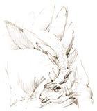 dinosaurus het potloodschets van de dinosaurustekening Stock Afbeelding