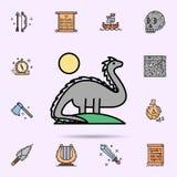 dinosaurus, het uitgestorven, wilde leven, dier, zonpictogram Universele reeks van geschiedenis voor websiteontwerp en ontwikkeli vector illustratie