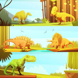 Dinosaurus 3 Horizontal Retro Banners Collection Stock Images