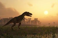Dinosaurus in landschap Royalty-vrije Stock Foto's