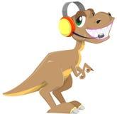 Dinosaurus met hoofdtelefoon Royalty-vrije Stock Afbeelding