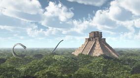 Dinosaurus Omeisaurus en Mayan tempel Stock Foto