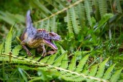 Dinosaurus op de wildernisachtergrond stock foto