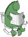 Dinosaurus op een Toilet Stock Foto