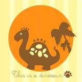 dinosaurus op gestreepte vanilleachtergrond Royalty-vrije Stock Afbeeldingen