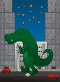 Dinosaurus op stad Stock Foto's
