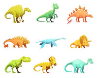 Dinosaurus Retro Cartoon Characters Icons Collection Royalty Free Stock Photography