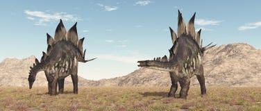Dinosaurus Stegosaurus in een landschap royalty-vrije stock afbeeldingen