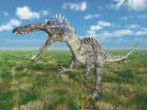 Dinosaurus Suchomimus in een landschap royalty-vrije illustratie