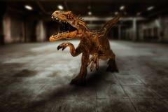 Dinosaurus t-Rex in actie stock afbeelding